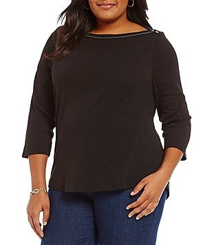 Westbound Plus Boat Neck 3/4 Sleeve Solid Top