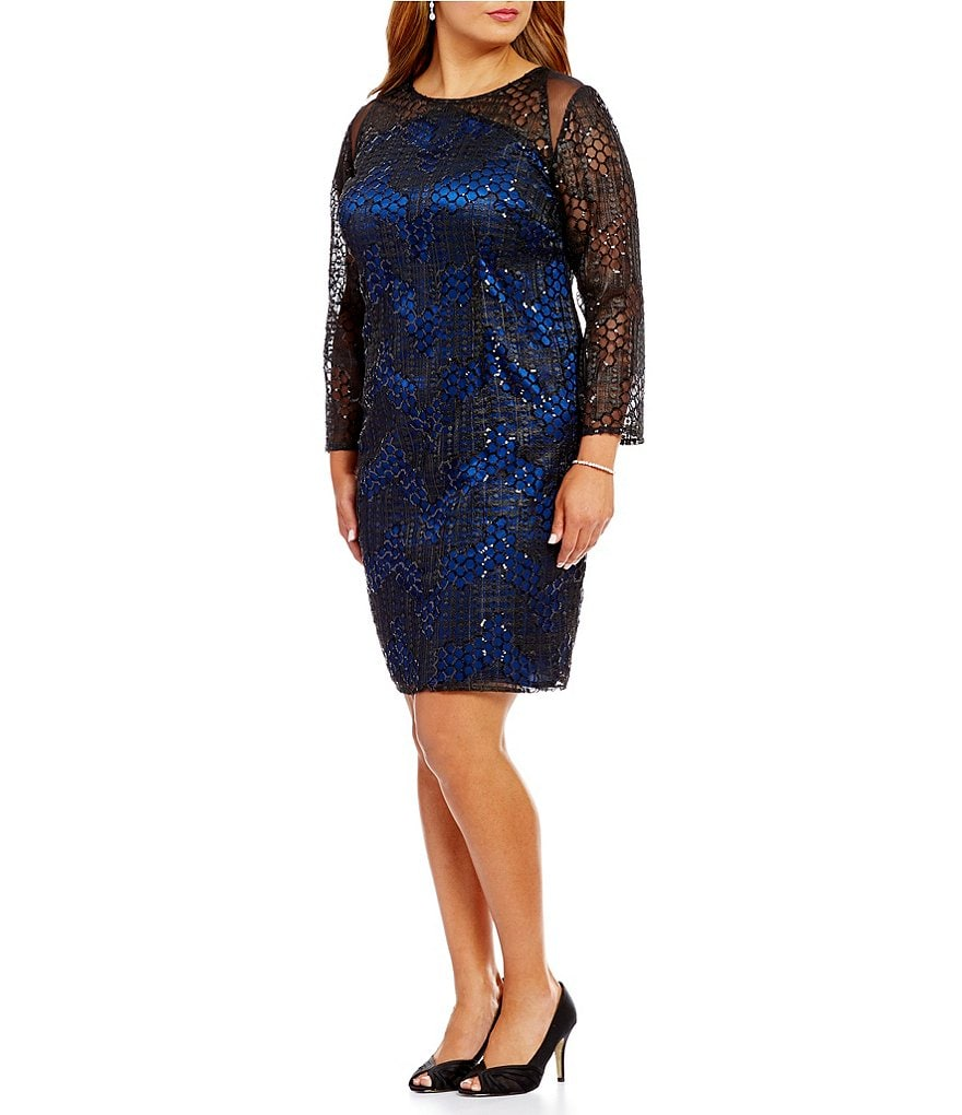 Brianna Plus Round Neck Illusion Sleeve Geometric Embellished Sheath Dress