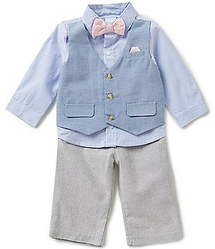 Edgehill Collection Baby Boys Newborn-6 Months Faux-Vest Woven Shirt & Pants Set