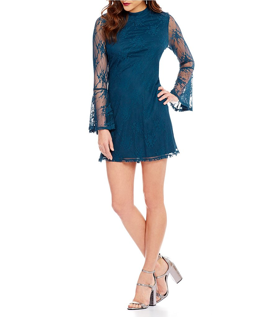 Xtraordinary Lace Illusion Bell-Sleeve Mock Neck Trapeze Dress