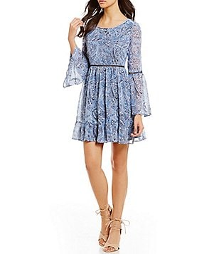 Xtraordinary Paisley Print Bell-Sleeve Babydoll Dress