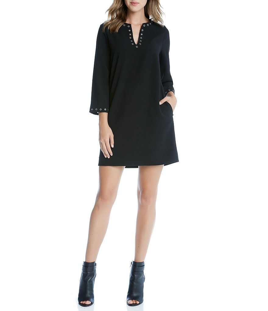 Karen Kane Split V-Neck 3/4 Sleeve Eyelet Border Shift Dress