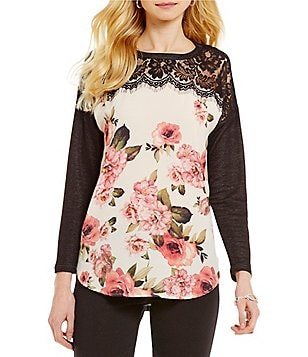 Bobeau Long Sleeve Lace Inset Sublimation Pullover