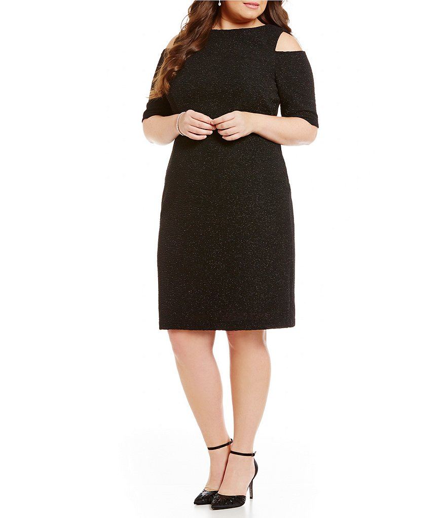 Eliza J Plus Cold-Shoulder Sheath Dress