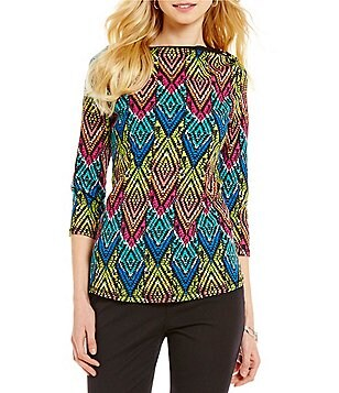 Westbound Petites Boat Neck 3/4 Sleeve Printed Top