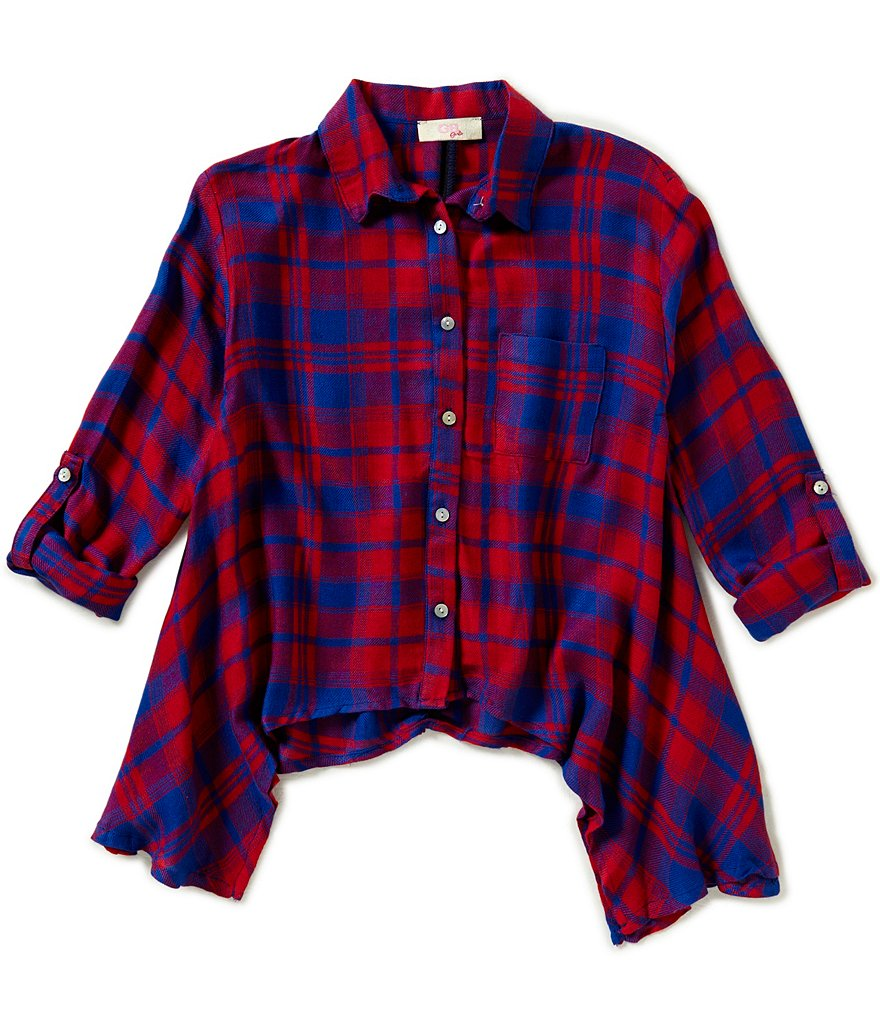 GB Girls Big Girls 7-16 Plaid Shark-Bite Tunic