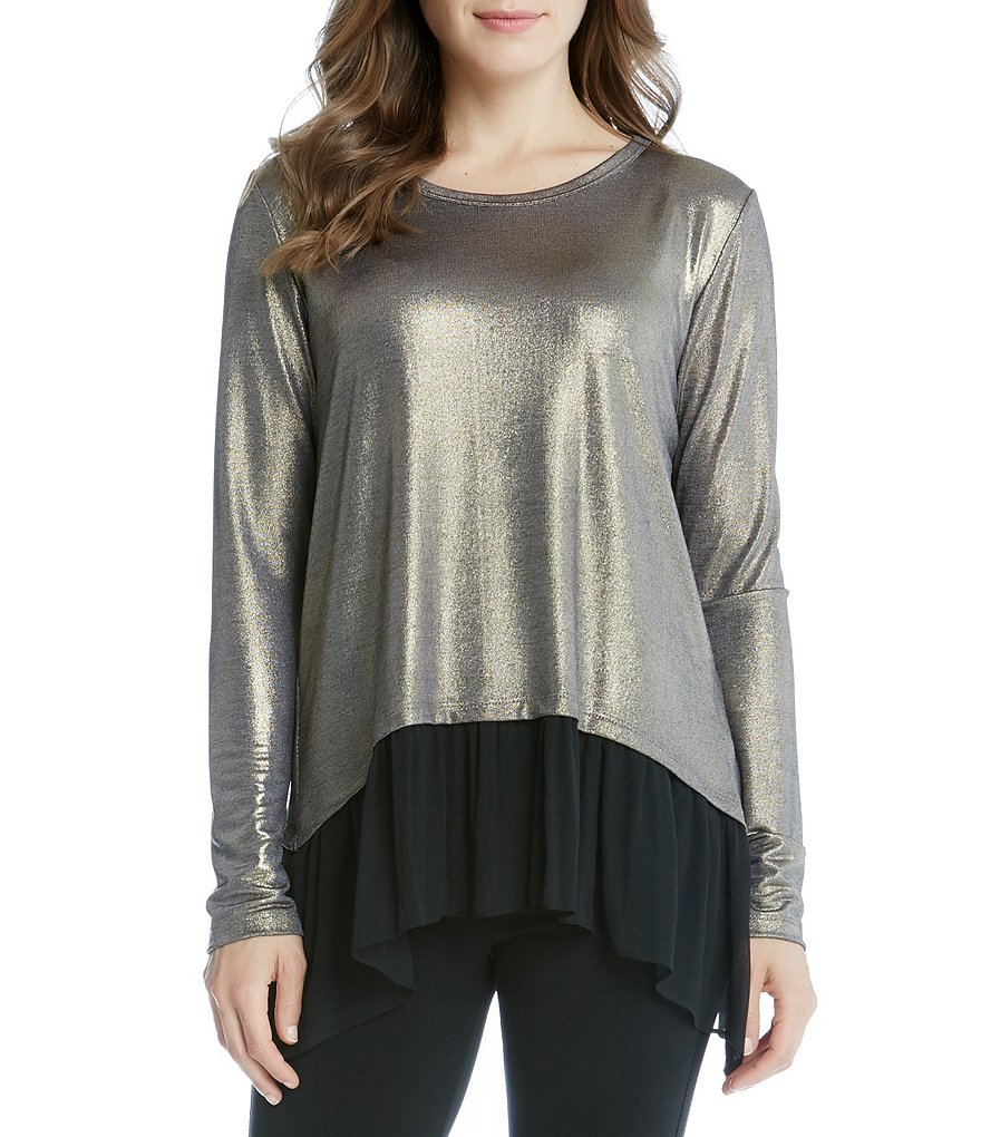 Karen Kane Sheer Hem Handkerchief Long Sleeve Top