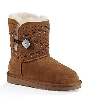 UGG® Girl´s Bailey Button II Tehuano Leather Topstitching Slip-On Boot