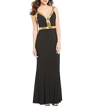 Cachet Deep Beaded-V A-line Sleeveless Gown