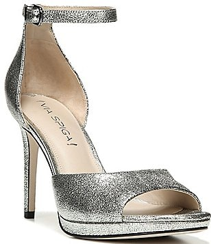 Via Spiga Salina Metallic Leather Ankle Strap Dress Sandals