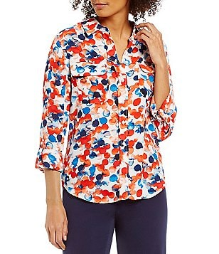 Investments Elbow-Length Roll-Tab Sleeve Printed Utility Blouse