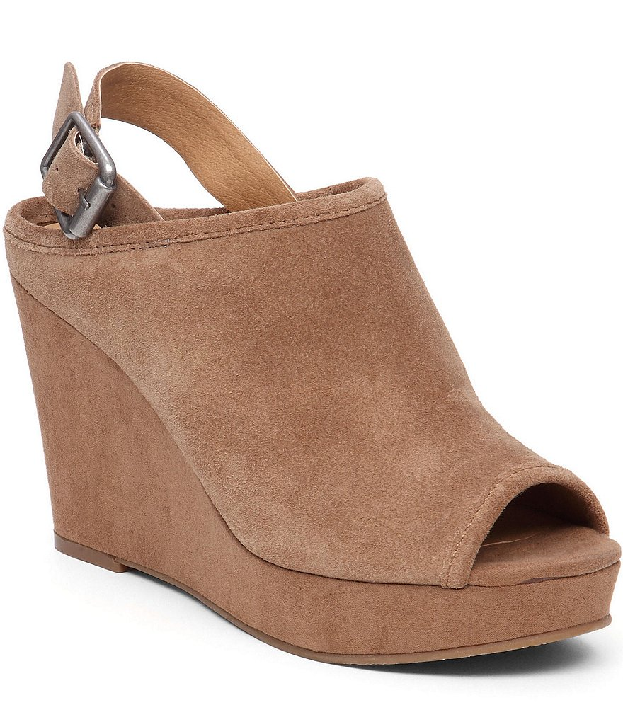 Lucky Brand Jemadine Back Strap Suede Peep Toe Wedges