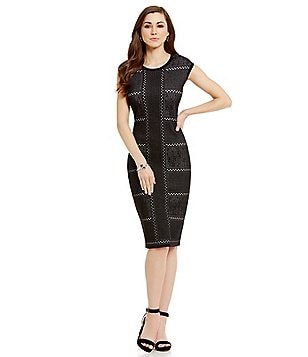 Antonio Melani Wilhelmina Novelty Cap Sleeve Jacquard Sheath Dress