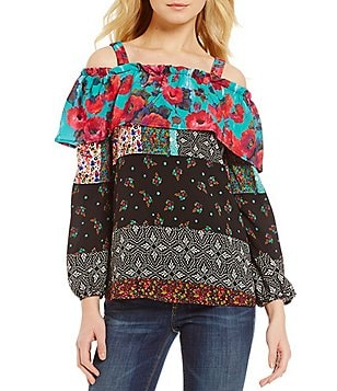 Figueroa & Flower Effie Ruffled Off-The-Shoulder Printed Blouse