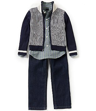 Nautica Little Boys 4-7 Chevron/Color Block Sweater, Plaid Long-Sleeve Woven Shirt and Jeans Set