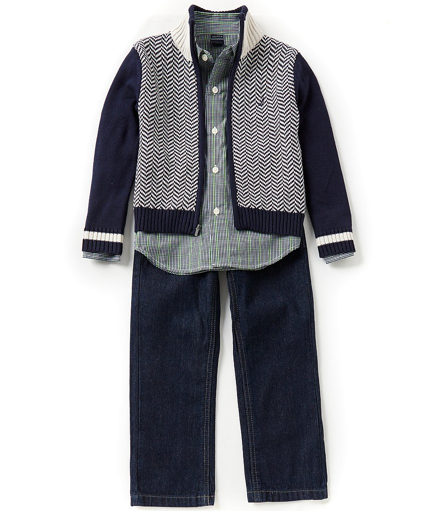 Nautica Big Boys 8-20 Chevron/Color Block Sweater, Plaid Long-Sleeve Woven Shirt and Jeans Set