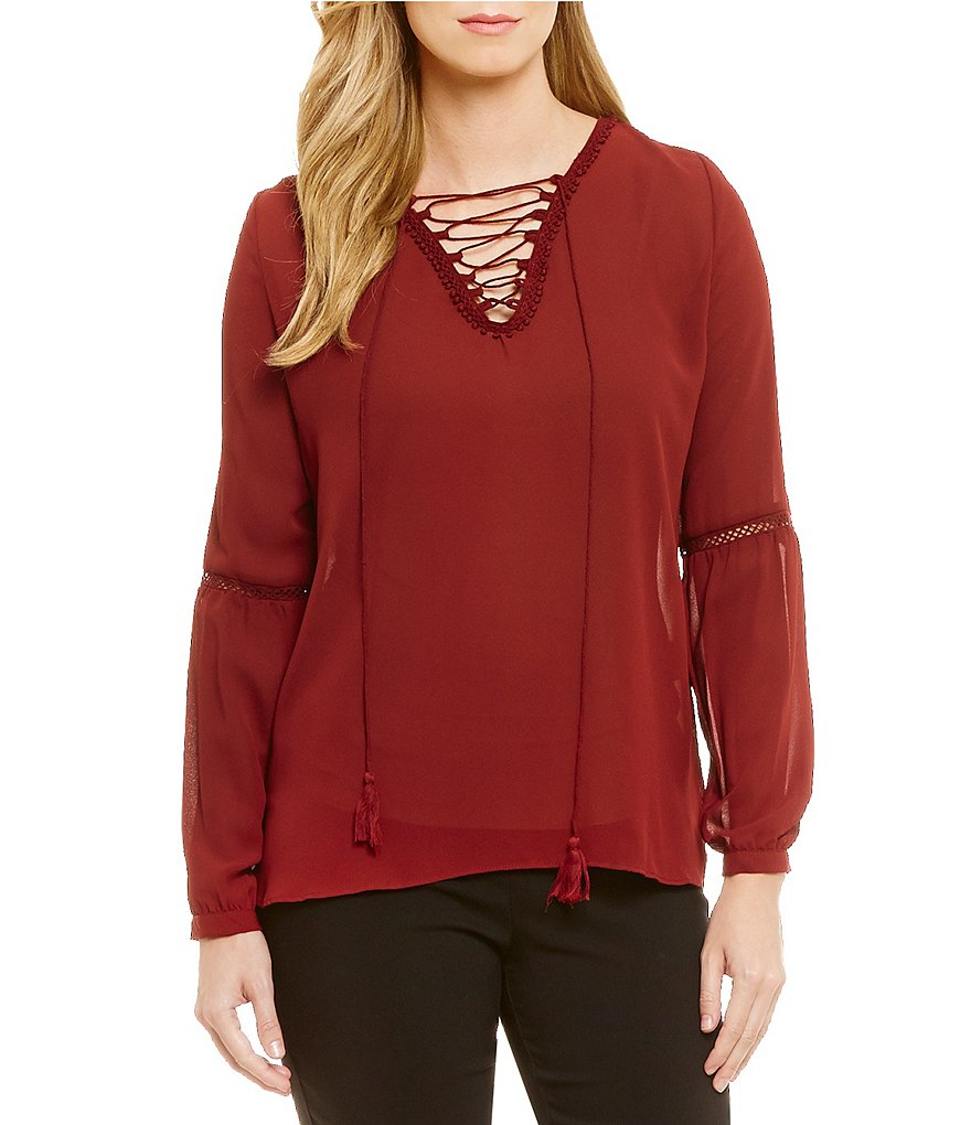 Gibson & Latimer Lace-Up Peasant Blouse