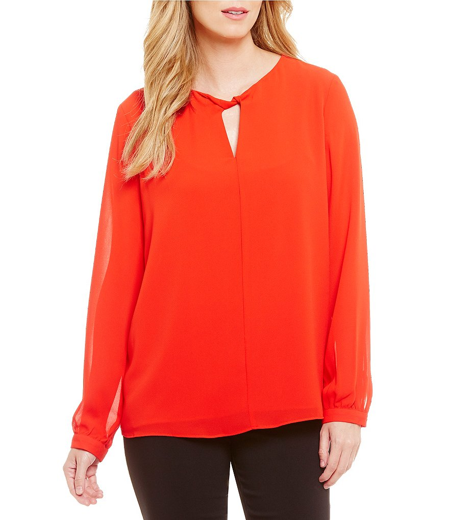 Gibson & Latimer Long Sleeve Bar-Neck Blouse