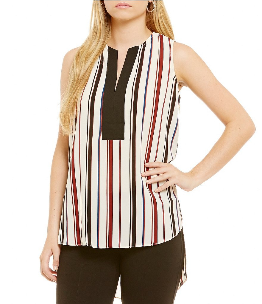 Gibson & Latimer V-Neck Sleeveless Side Slit Striped Blouse