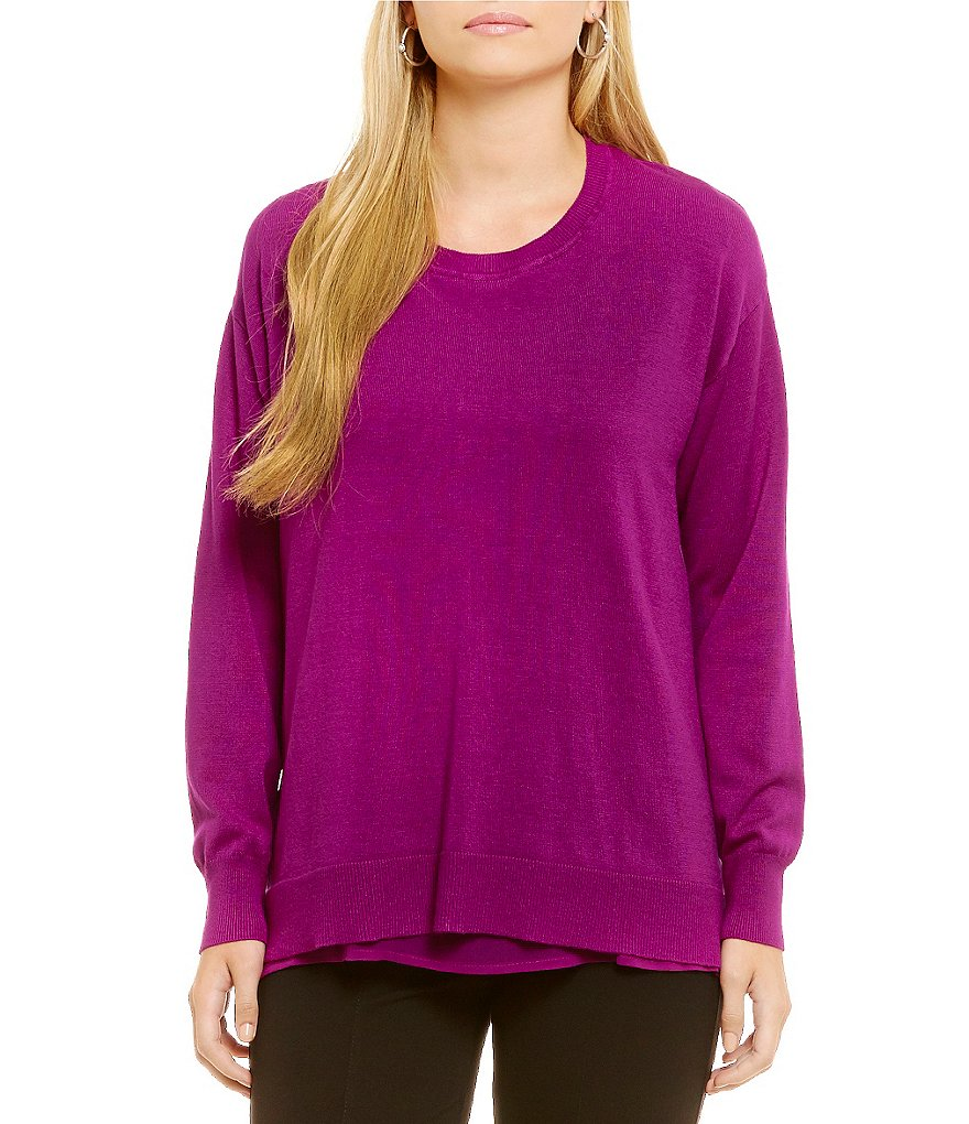 Gibson & Latimer Round Neck Long Sleeve Zip Back Slouchy Sweater