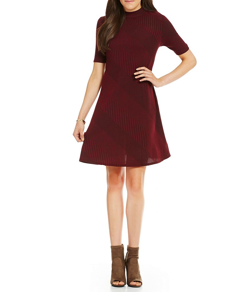 Gibson & Latimer Mock Neck Fit-and-Flare Knit Dress