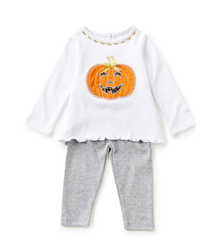 Mud Pie Baby Girls 6-18 Months Halloween Pumpkin Tunic & Solid Pant Set