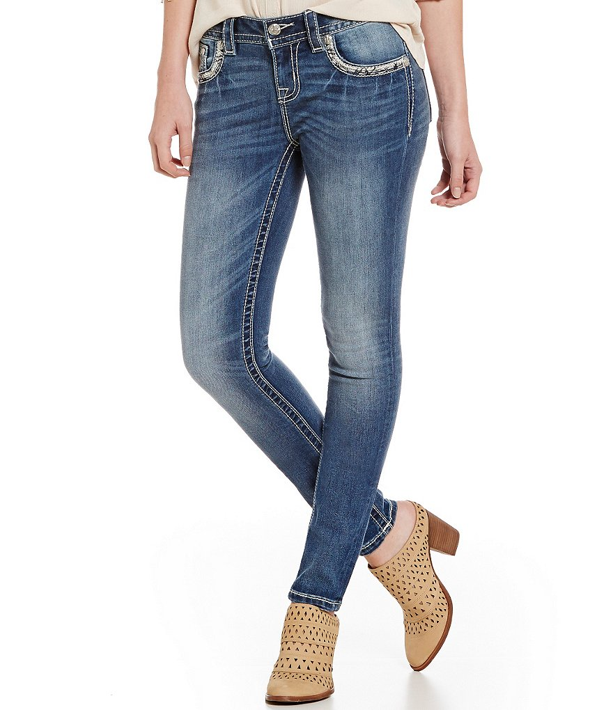 Miss Me Abstract Winged Flap Pocket Embroidered Skinny Jeans