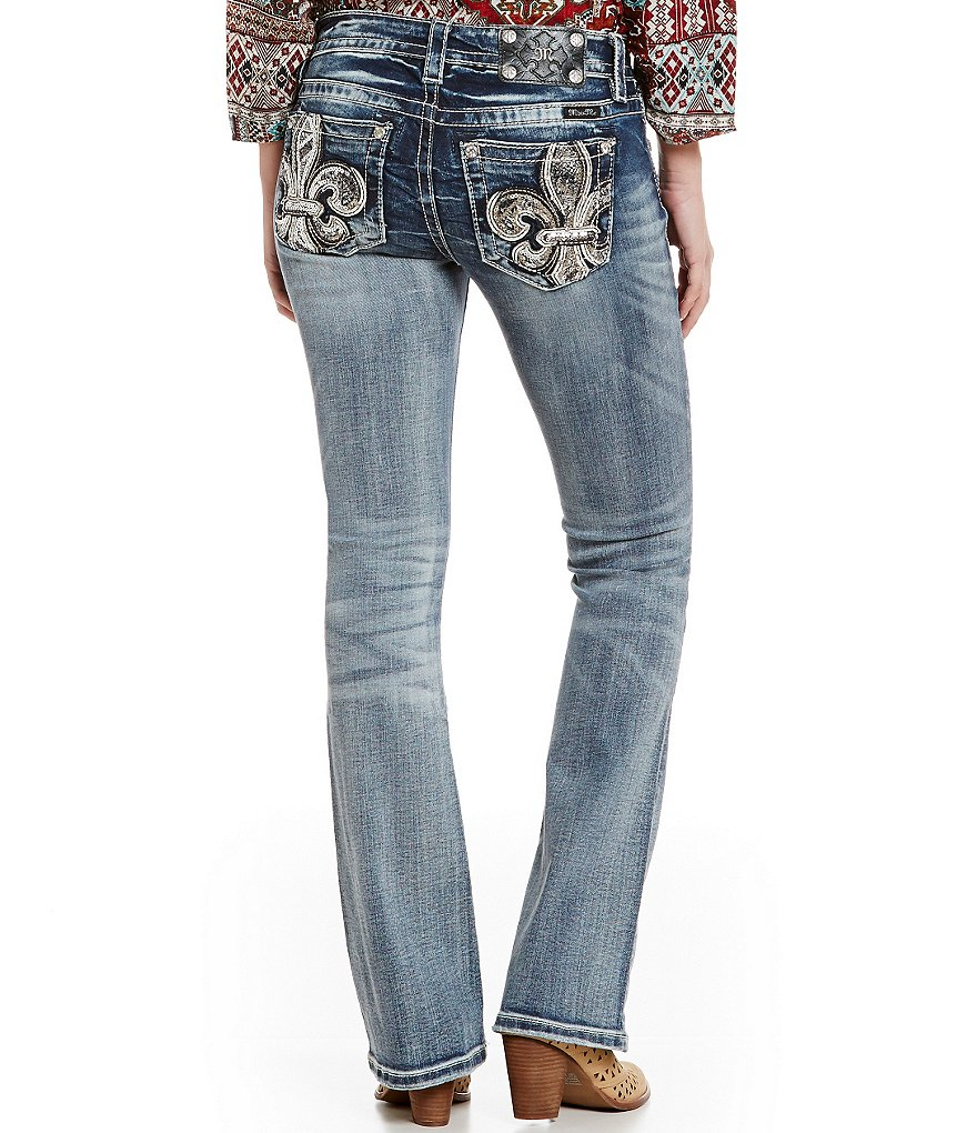 Miss Me Two-Tone Fleur-de-Lis Pocket Bootcut Jeans