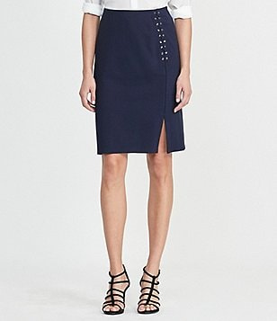 Lauren Ralph Lauren Side Slit Solid Ponte Pencil Skirt