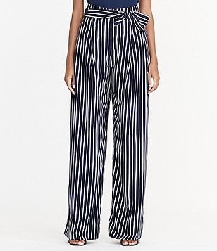 Lauren Ralph Lauren Pinstriped High-Rise Wide Leg Pant