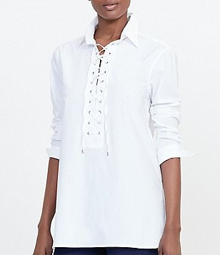 Lauren Ralph Lauren Lace-Up Broadcloth Tunic