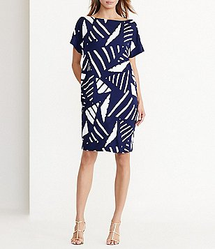 Lauren Ralph Lauren Bateau Neck Short Sleeve Geometric-Print Shift Dress