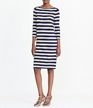 Lauren Ralph Lauren Striped Metallic Sweater Dress