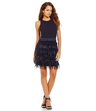 Gianni Bini Lucy Ostrich Feather Skirt Sleeveless Dress