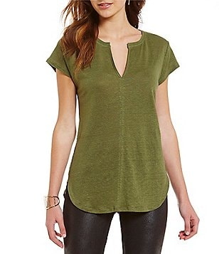Sanctuary City Mix Split V-Neck Tunic