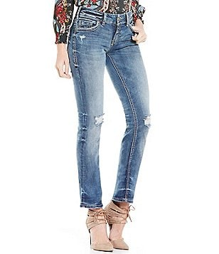 Silver Jeans Co. Suki Mid Distressed Straight Jeans