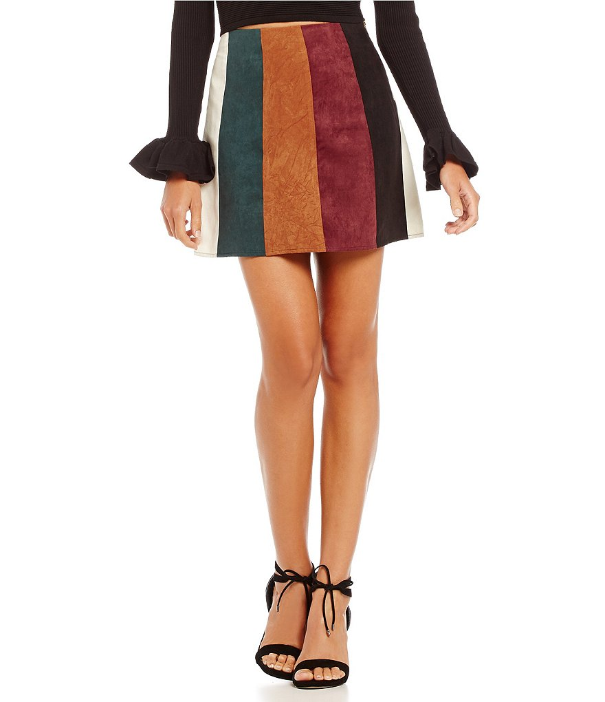 Gianni Bini Kelsey Faux-Suede Coated Patch Mini Skirt