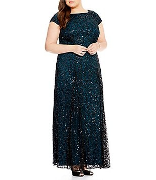 Brianna Plus Embroidered Sequin Lace Gown