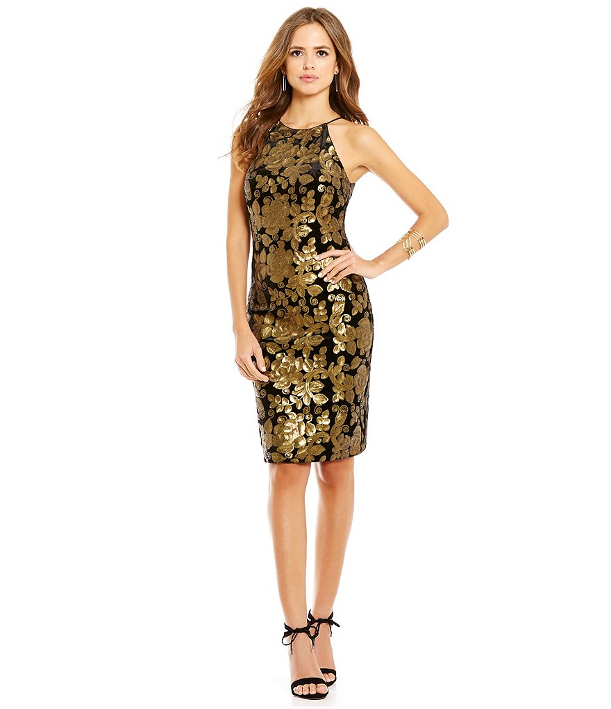 Gianni Bini Social Ronnie Sleeveless Sequined Velvet Dress