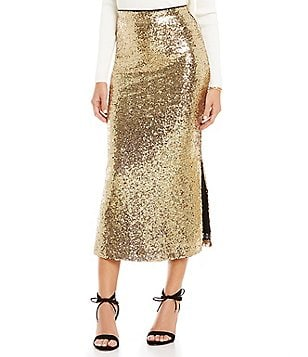 Gianni Bini Gracie Side Slit Sequin Midi Skirt