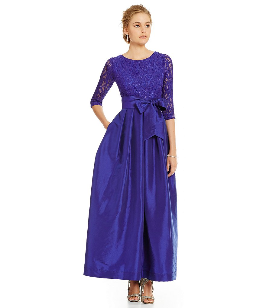 R & M Richards 3/4 Sleeve Lace Taffeta Ballgown