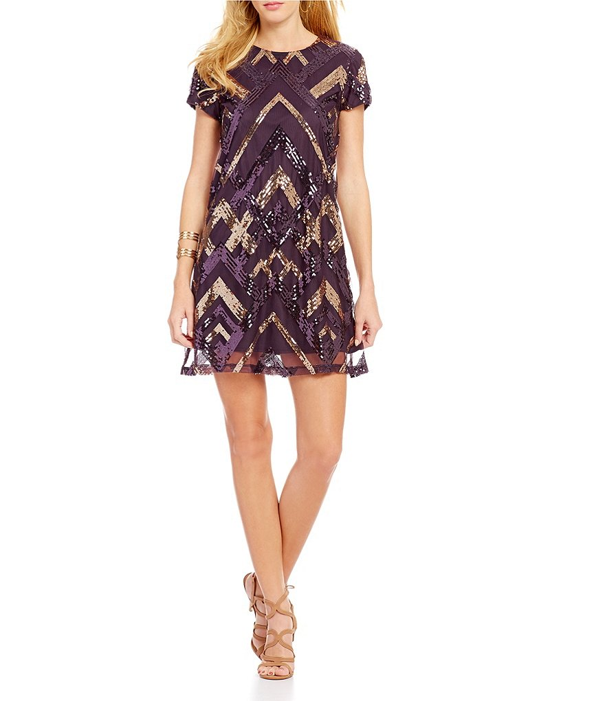 Jodi Kristopher Sequin Pattern Shift Dress