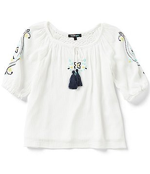 Takara Little Girls 4-6X Tassel Peasant Top