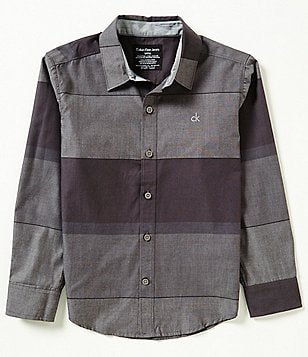 Calvin Klein Big Boys 8-20 Striped Woven Long-Sleeve Shirt