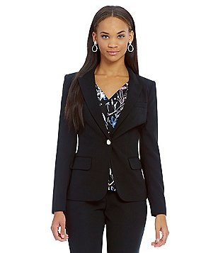 Ivanka Trump Peak Lapel One Button Crepe Jacket