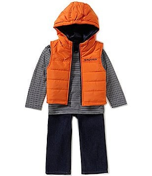 Nautica Little Boys 2T-4T Hooded Vest, Striped Knit Tee, and Denim Jeans Set