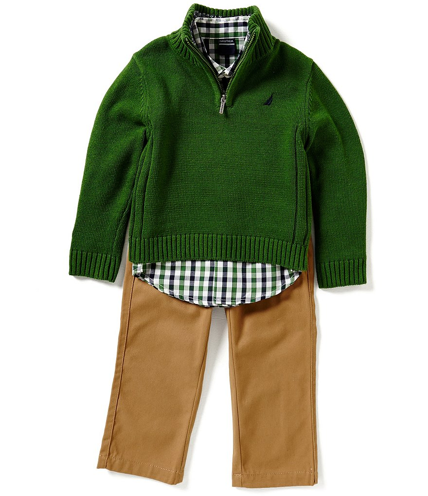Nautica Little Boys 2T-4T Half-Zip Sweater, Checked Long-Sleeve Woven Shirt, & Solid Twill Pants Set
