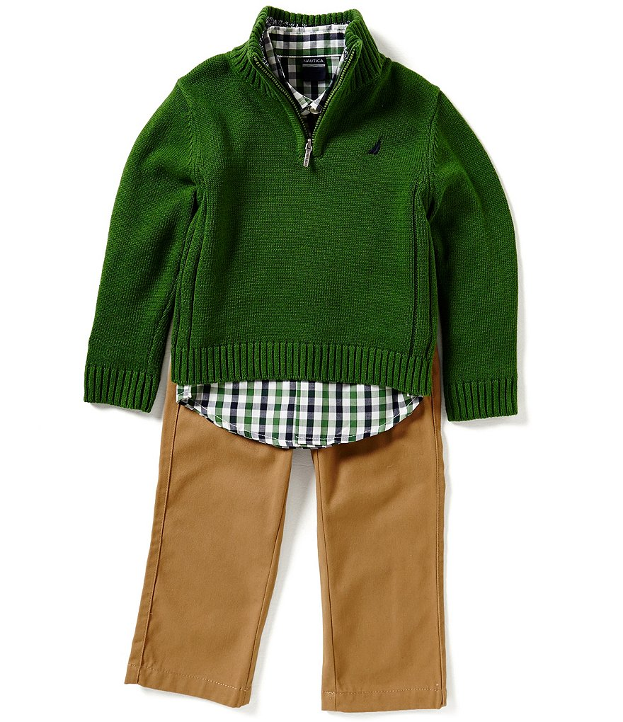 Nautica Big Boys 8-20 Half-Zip Sweater, Checked Long-Sleeve Woven Shirt, & Solid Twill Pants Set
