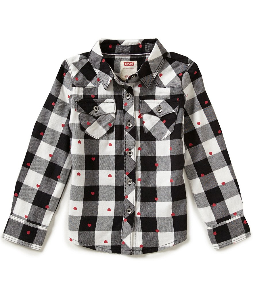 Levi's® Little Girls 2T-6X The Western Plaid Snap-Down Shirt