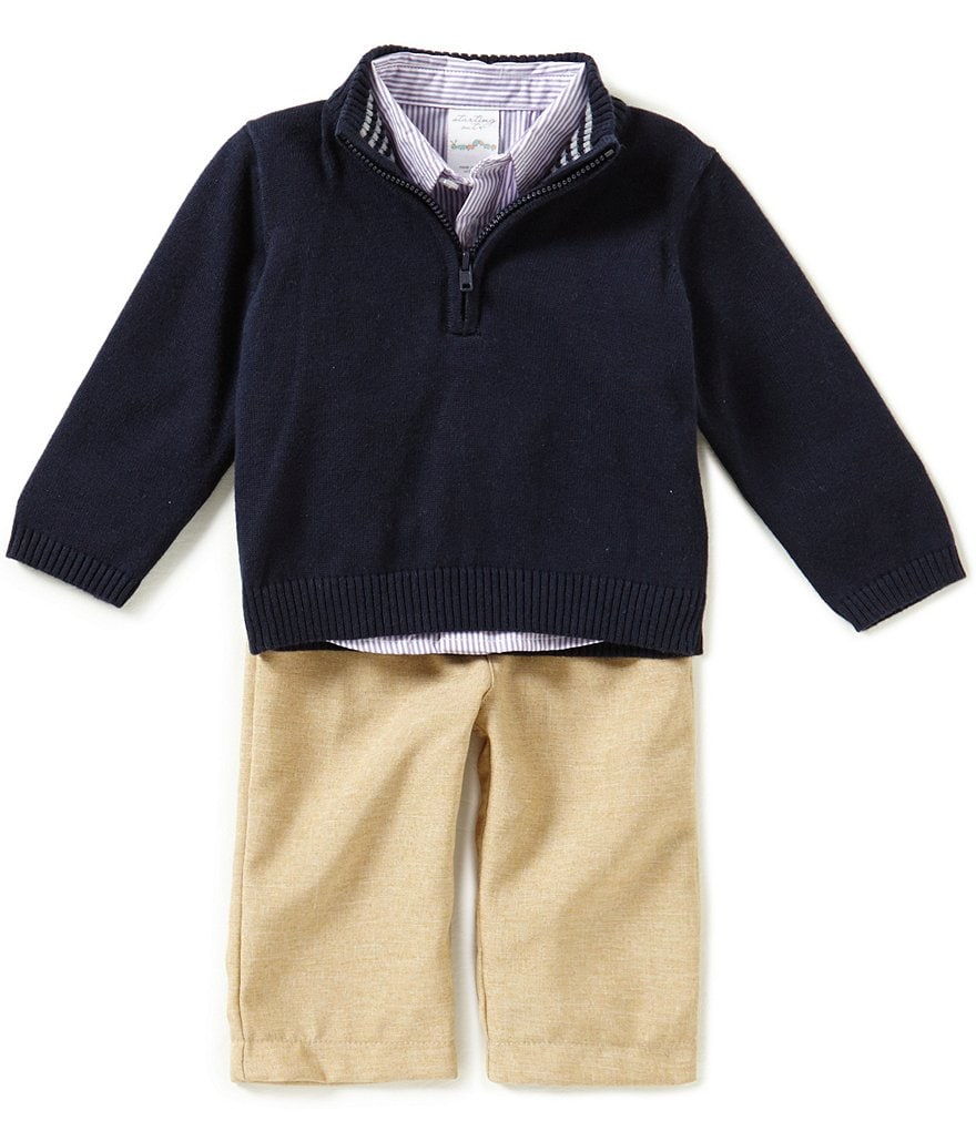 Starting Out Baby Boys 3-24 Months 3-Piece 1/2 Zip Sweater Set